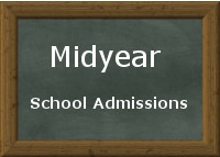 Chalkboard detailing midyear school admissions title