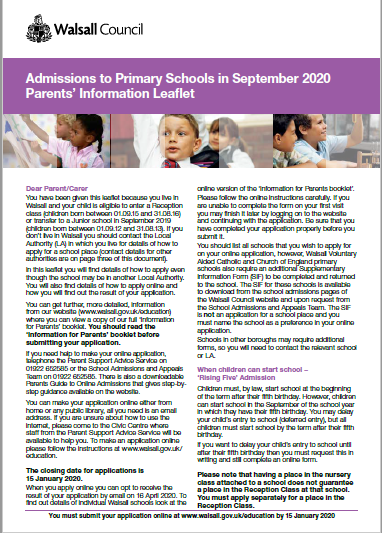 Information for Parents Leaflet Primary Admissions 2020